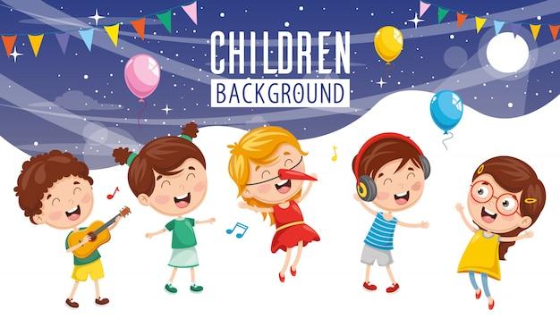 Vector illustratie van kinderen partij achtergrond