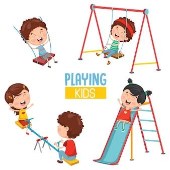 Vector illustratie van kinderen spelen