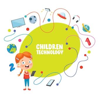 Vector illustratie van kinderen technologie
