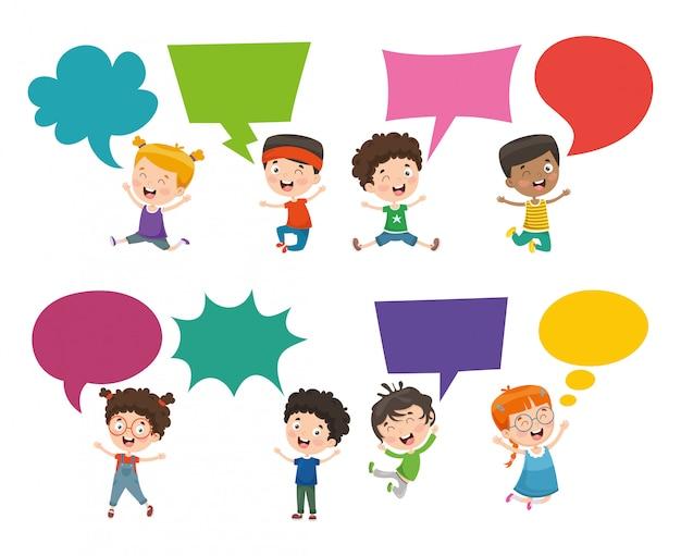 Vector illustratie van kinderen tekstballon