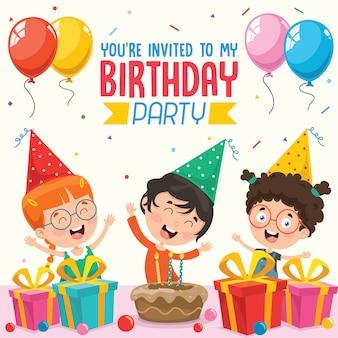 Vector illustratie van kinderen verjaardagsfeestje uitnodiging kaart ontwerp