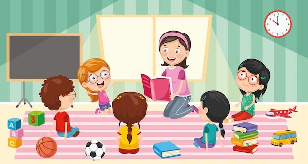 Vector illustratie van klaslokaal