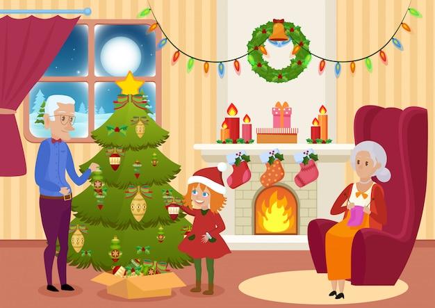 Vector illustratie van kleindochter en grootvader die kerstboom verfraaien