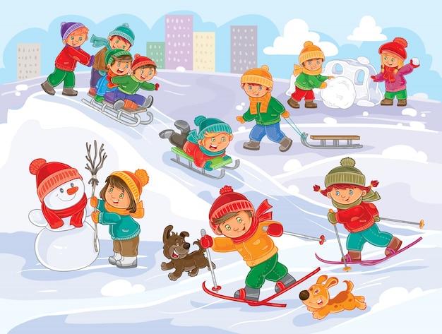 Vector illustratie van kleine kinderen die buitenshuis in de winter spelen