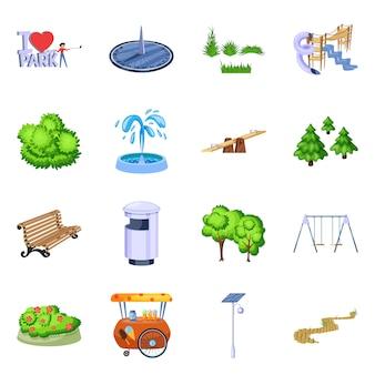 Vector illustratie van landschap en parkpictogram. verzameling van landschap en natuur set