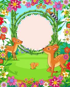 Vector illustratie van leuke herten met bamboe leeg teken in de tuin