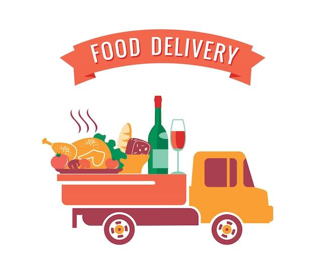Vector illustratie van levering voedsel.