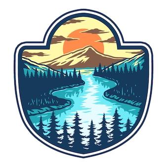 Vector illustratie van meer, berg en zonsondergang