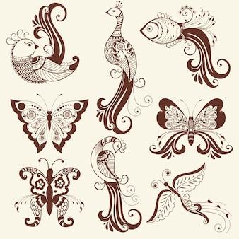 Vector illustratie van mehndi ornament. traditionele indiase stijl, sier bloemen elementen voor henna tattoo, stickers, mehndi en yoga ontwerp, kaarten en prints. abstracte bloemen vector illustratie.