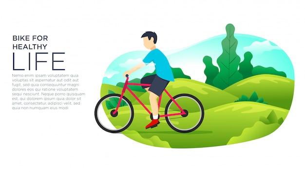 Vector illustratie van mensen die fiets in park berijden.