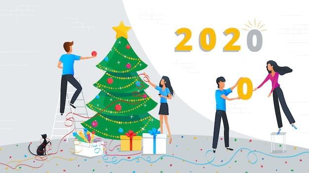 Vector illustratie van mensen uit het kleine bedrijfsleven versieren kerstboom in het hoofdkantoor op het werk