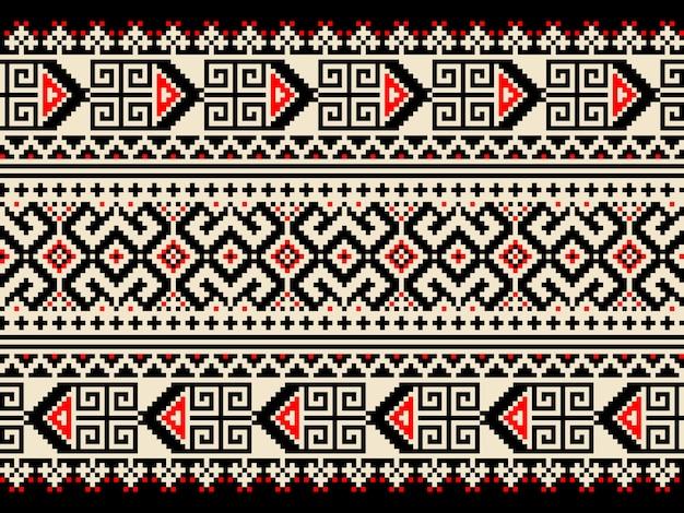 Vector illustratie van oekraïense volks naadloze patroon ornament. etnische versiering. border element. traditioneel oekraïens, wit-russisch volkskunst gebreid borduurpatroon - vyshyvanka