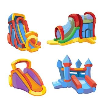 Vector illustratie van opblaasbare kastelen en kinderen heuvels op speelplaats