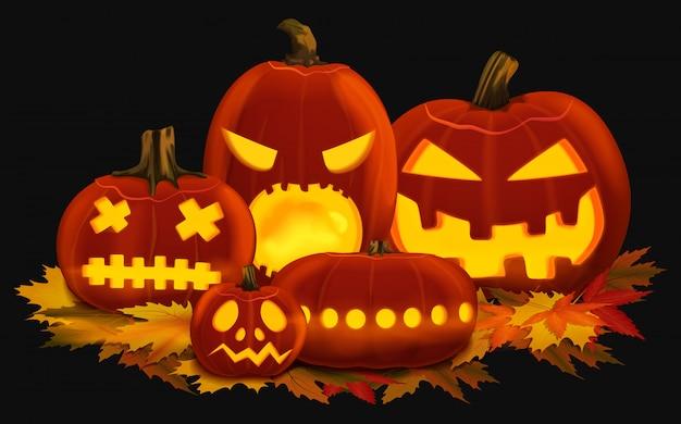 Vector illustratie van oranje gloeiende pompoenlantaarns voor halloween met gesneden gezichten die op de herfstbladeren worden geplaatst.