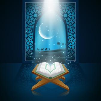 Vector illustratie van ramadan kareem met al koran.