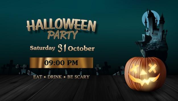 Vector illustratie van realistisch. pompoen. eng donker kasteel. halloween-feest. donkerbruin houten.