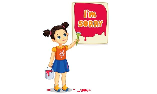 Vector illustratie van schattig meisje schilderen van een bord van i'm sorry tekst