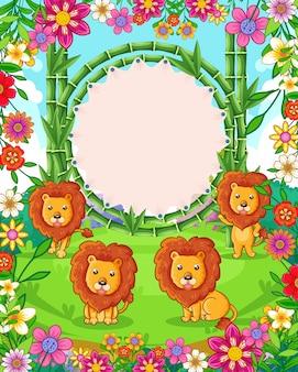 Vector illustratie van schattige leeuwen met bamboe leeg bord in de tuin