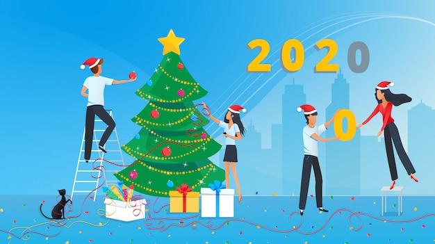 Vector illustratie van schattige mensen bereiden zich voor op het nieuwe jaar en versieren kerstboom in het hoofdkantoor op het werk