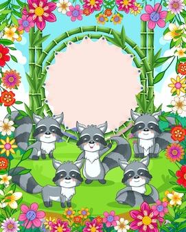 Vector illustratie van schattige wasberen met bamboe leeg bord in de tuin