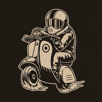 Vector illustratie van scooter met ruiter