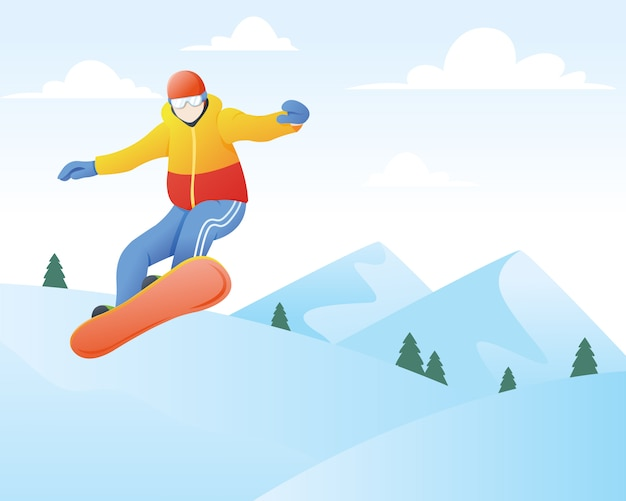 Vector illustratie van snowboarder. wintersport en recreatie, winterbergsportactiviteiten