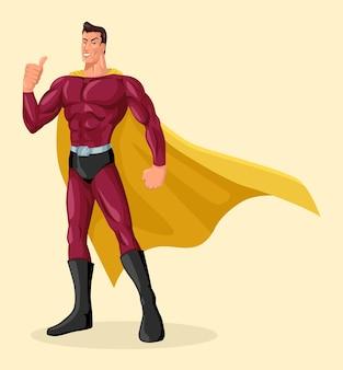 Vector illustratie van superheld met dappere pose duimen opgevend, eenvoudige platte cartoon