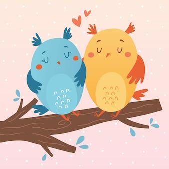 Vector illustratie van uilen in liefde