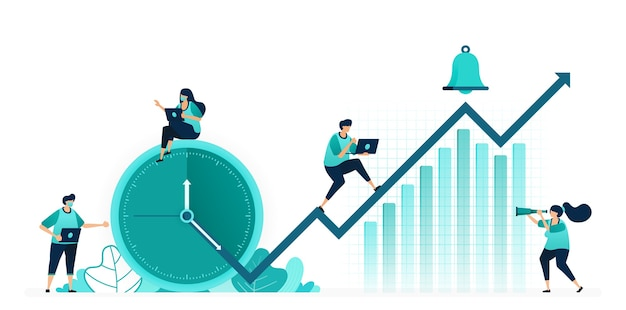 Vector illustratie van uren en schema's om de prestaties van het bedrijf te verbeteren. bedrijfswinsten stijgen op de grafiek. vrouwelijke en mannelijke arbeiders. ontworpen voor website, web, bestemmingspagina, apps ui ux, poster-flyer