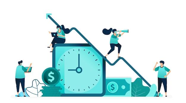 Vector illustratie van verbetering van de kwaliteit van tijd en inkomen van werknemers. klok met een dollarbiljet en een stapel munten. vrouwelijke en mannelijke arbeiders. ontworpen voor website, web, bestemmingspagina, apps, poster, flyer