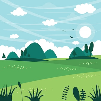 Vector illustratie van vlak landschap