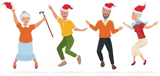Vector illustratie van volwassen mensen in kerstmishoeden die pret hebben, dansen en springen.
