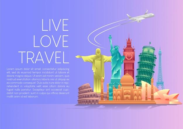 Vector illustratie van wereld toerisme dag poster banner met 's werelds beroemde bezienswaardigheden en toeristische bestemmingen elementen.