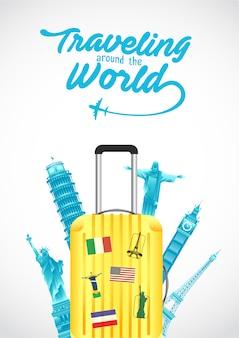 Vector illustratie van wereld toerisme dag poster met koffer, 's werelds beroemde bezienswaardigheden en toeristische bestemmingen elementen.