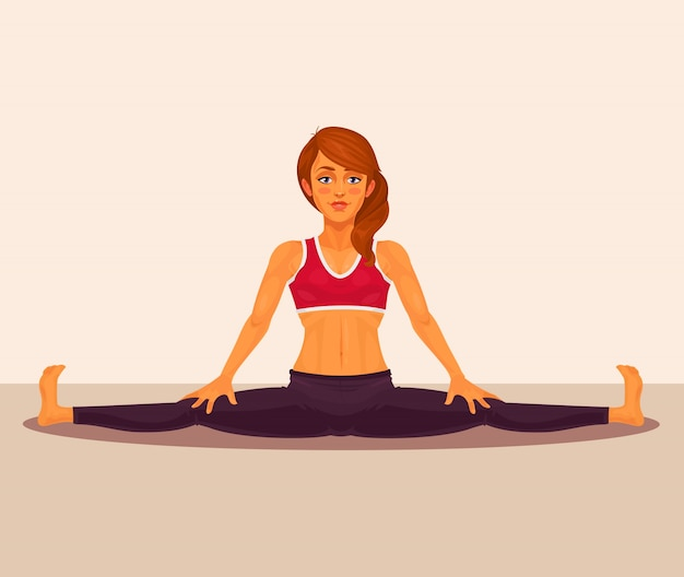 Vector illustratie van yoga meisje die de splitsingen doet.