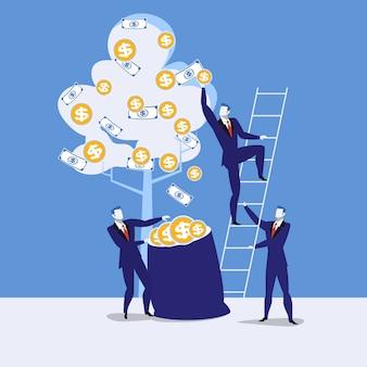 Vector illustratie van zakenlieden die geld, vlak stijlontwerp oogsten