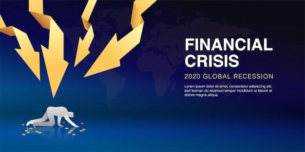 Vector illustratie van zakenman gebombardeerd door gouden pijl als teken faillissement als gevolg van de economische crisis, de impact van de uitbraak van het coronavirus. wereldwijde recessie van aandelenkoersen kelderde