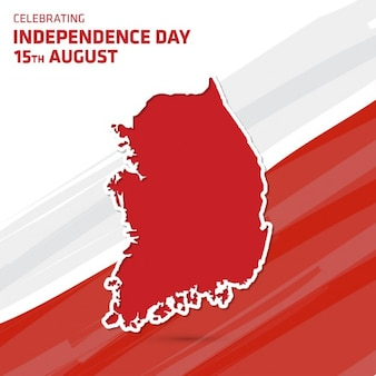 Vector illustratie van zuid-korea kaart independence day