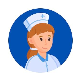 Vector illustratie verpleegster avatar. avatar van een lachende arts of verpleegster in medisch uniform. portret van een jonge verpleegster. foto van medisch personeel.