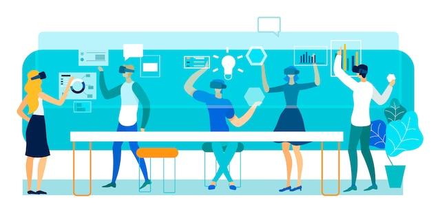 Vector illustratie virtual reality in office.
