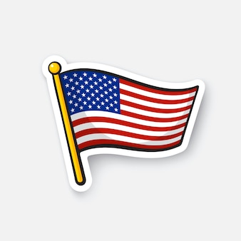 Vector illustratie vlag van de verenigde staten op vlaggestok checkpoint voor reizigers sticker