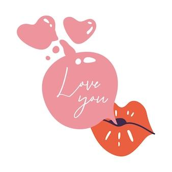 Vector illustratie vrouwelijke mond met kauwgom. rode lippenstift. kus vorm.