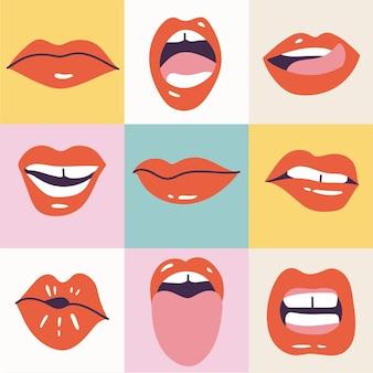 Vector illustratie vrouwelijke monden. rode lippenstift. verschillende van mimiek, emoties, gezichtsuitdrukkingen. affiche om af te drukken.
