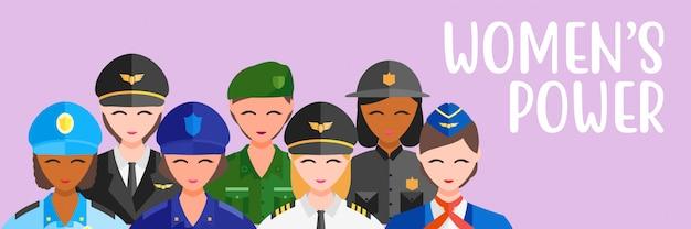 Vector illustratie vrouwen professie baan meisje power