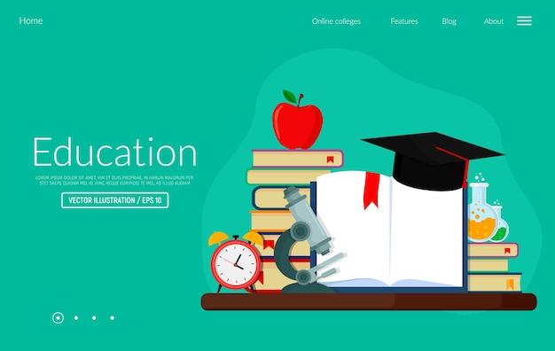 Vector illustratie webbanner voor kennis van onderwijs en opleidingen. sjabloon voor bestemmingswebpagina's.