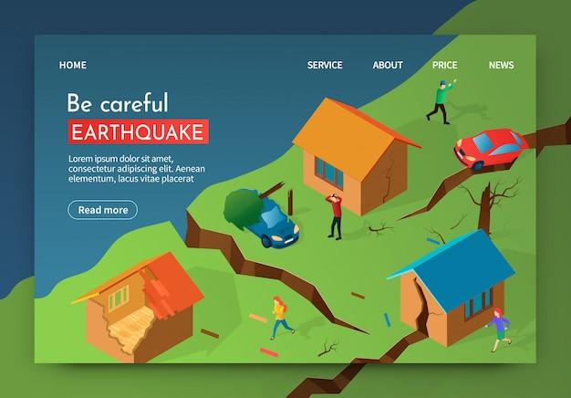 Vector illustratie wees voorzichtig aardbeving banner.