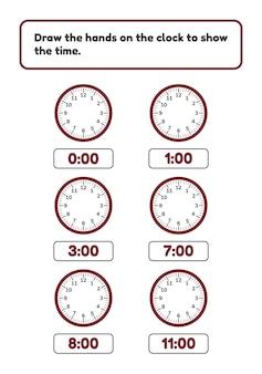 Vector illustratie. werkblad voor kinderen voorschoolse en schoolgaande leeftijd. teken wijzers op de klok en laat de tijd zien rond het horloge.