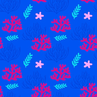 Vector illustratie. zee naadloos patroon met koralen en zeewier. blauwe, roze, rode achtergrond.