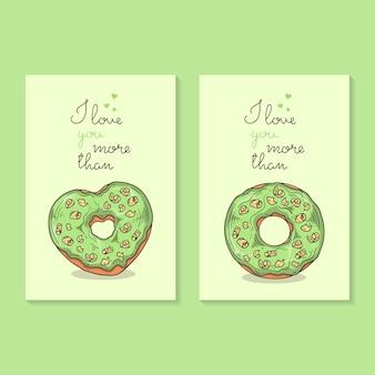 Vector illustraties gefeliciteerd met valentijnsdag. kaarten met donuts.