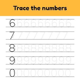Vector illustraties. traceer regelnummers voor kleuter- en preshool-kinderen